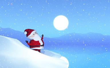 3D Santa in a snowy landscape