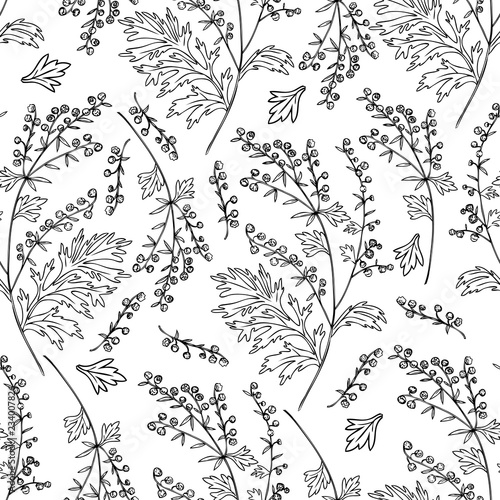 Photo Seamless floral vector pattern Artemisia vulgaris, wormwood common hand drawn in