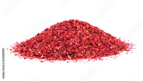 Fotografie, Obraz  Ground Sumac Spice Heap. Isolated on White Background.