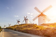 Windmills at sunset in Consuegra, Castile-La Mancha, Spain.