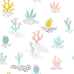 NaklejkaSeamless pattern with cactuses and succulents. Vector illustration.