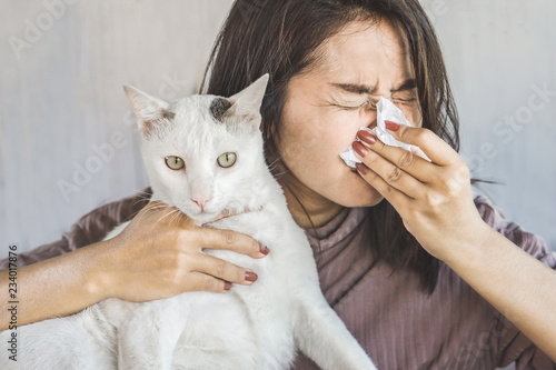 Leinwand Poster  Asian woman with tissue sneezing has a running nose because of allergy to a cat