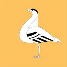 Bustard Bird ,stylized Vector Illustration, Profile