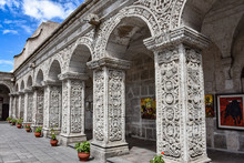 The Interior Courtyard And Cloisters Of Church Of La Compania, Arequipa, Peru