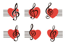 Icons Set Of Music Note Treble...
