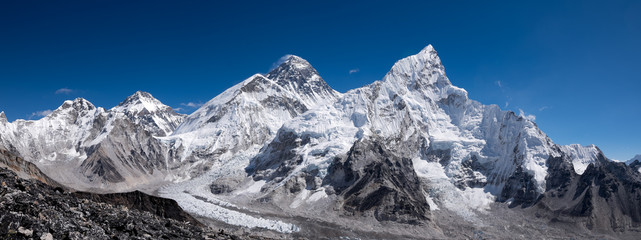 Everest and Kumbu Icefall panorama