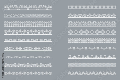 Fotomural Set of horizontal isolated White lace borders for design