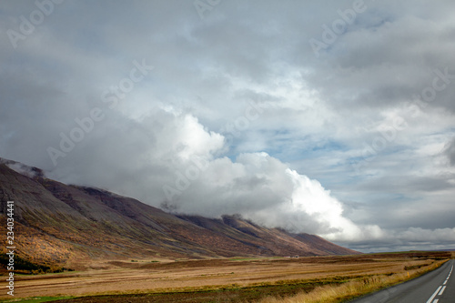 Mountain landscape with glacier and stones. Bold background