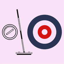 Curling Game Element Set: Curling Broom And Curling Stone  Silhouette