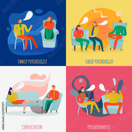 Photo Psychotherapist And Psychologist Concept Icons Set
