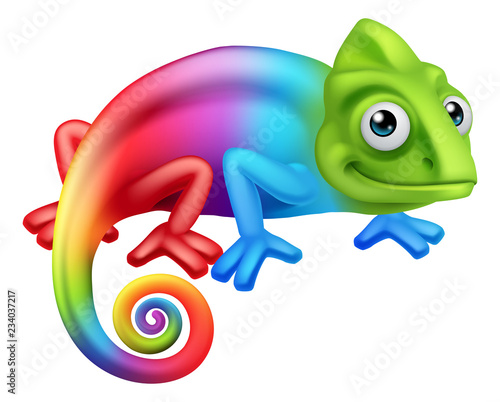 Fototapeta premium Kameleon jaszczurka tęcza kolor kreskówka graficzną ilustrację