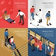 Disabled People Isometric Design Concept