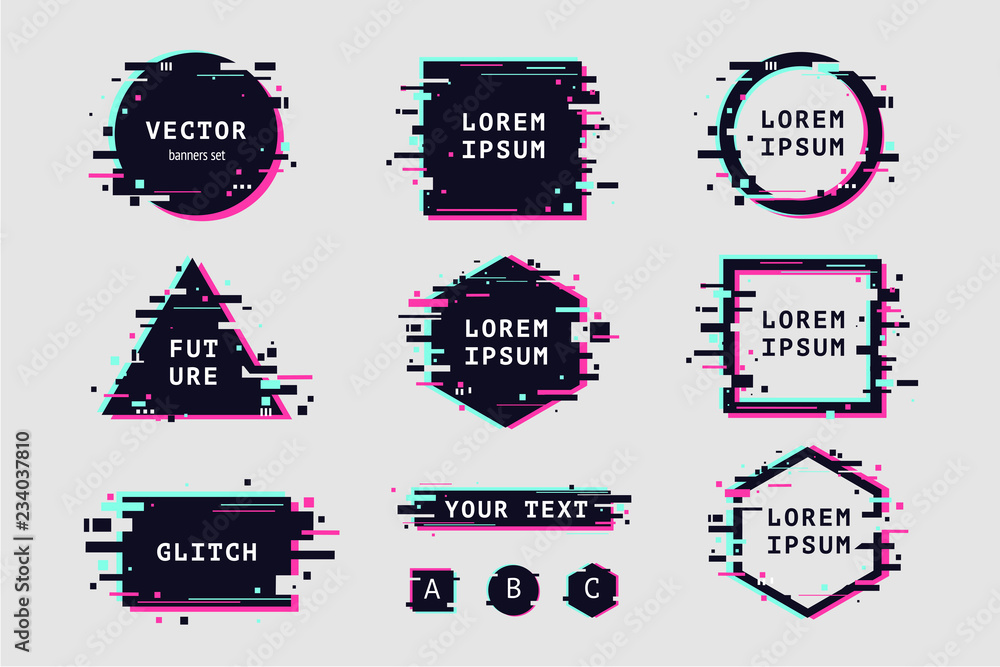 Fototapety, obrazy: Glitch effect banners and frame set. Futuristic design with glitchy abstract shapes. Vector clipart elements.