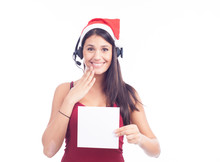 Christmas Phone Operator Woman...
