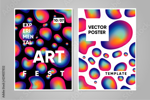 Art and music poster template with trendy background