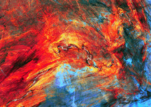 Abstract Red And Blue Painting Texture. Molten Lava Liquid Background. Modern Futuristic Vibrant Fiery Pattern. Bright Flame Dynamic Background. Fractal Artwork For Creative Graphic Design