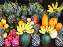 Colorful Arrangement Of Fresh Ripe Tropical Fruit At A Juice Stand In Luang Prabang, Laos