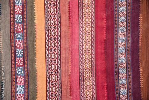Photo Close up of traditional Andean textile designs. Arequipa, Peru