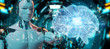 Robot creating artificial intelligence in a digital brain 3D rendering