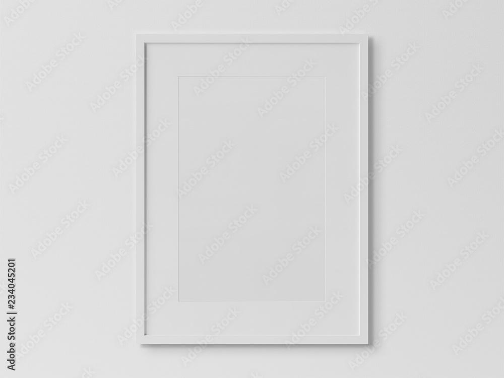 Fototapeta White rectangular vertical frame hanging on a white wall mockup 3D rendering