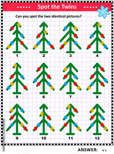 Christmas Rebus Puzzles With Answers.Winter Holidays Christmas Or New Year Themed Visual Puzzle