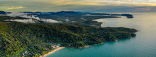 Aerial Panoramic View Of A Tropical Beach, Jungle And Town At Sunset (Khao Lak, Thailand)