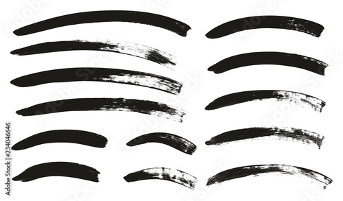 Fotomural  Calligraphy Paint Brush Curved Lines High Detail Abstract Vector Background Set