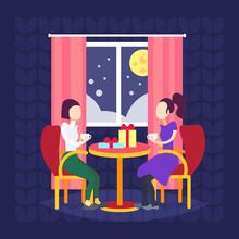Women Couple Drinking Coffee I...