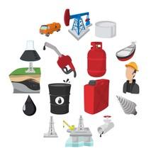 Oil Industry Cartoon Icons Set...