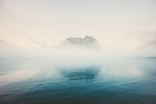 Foggy Sea Moody Landscape Travel Tranquil Morning View Misty Nature Scenery