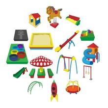 Playground Cartoon Icons Set Isolated On White Background