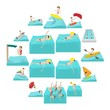 Water sport cartoon icons isolated on white background