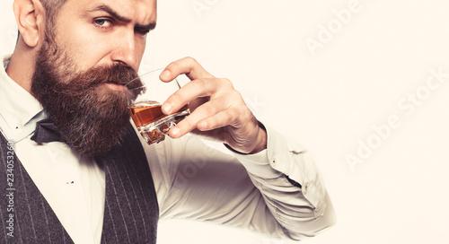 Obraz na plátně  Whiskey, brandy, cognac drink