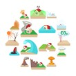 Natural disaster icons set in cartoon style isolated on white