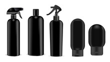 Black Cosmetics Sprayer And Shampoo, Gel, Soap Bottles Mockup Set Black Pump Dispenser And Lid. High Quality Containers. Realistic Vector Illustration Package.