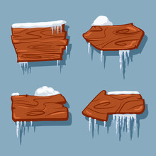 Blank Wooden Signs In Snow And Icicles. Vector Cartoon Set Isolated On Blue Background.