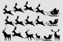 Santa Claus Sleigh With Reindeer. Christmas Deer Black Silhouette Vector Set Isolated On Transparent Background.