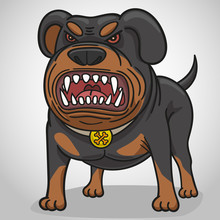 Cartoon Angry Dog Of Breed A R...