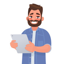Happy Man Holding Tablet Computer In His Hands. Vector Illustration