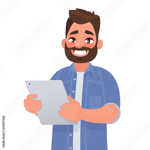 Obraz Happy man holding tablet computer in his hands. Vector illustration - fototapety do salonu