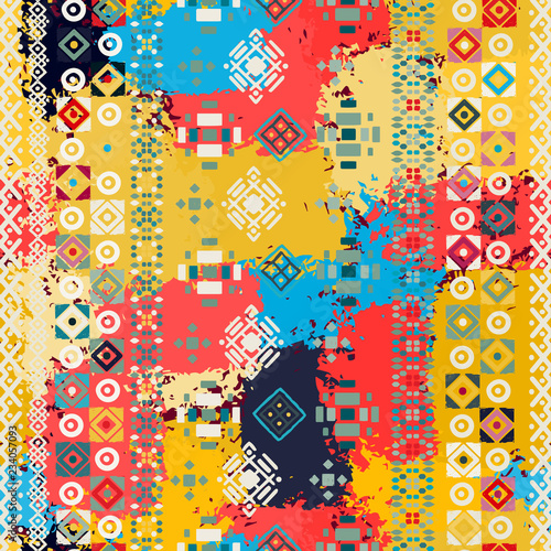 Εκτύπωση καμβά Ethnic boho seamless pattern