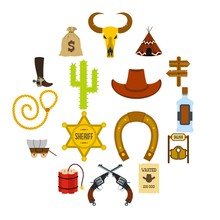Wild West Cowboy Flat Icons Set For Web And Mobile Devices