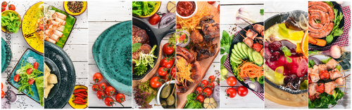 Collage of dishes. Salads, snacks, and meat dishes and fish. On a wooden background. Top view. © Yaruniv-Studio