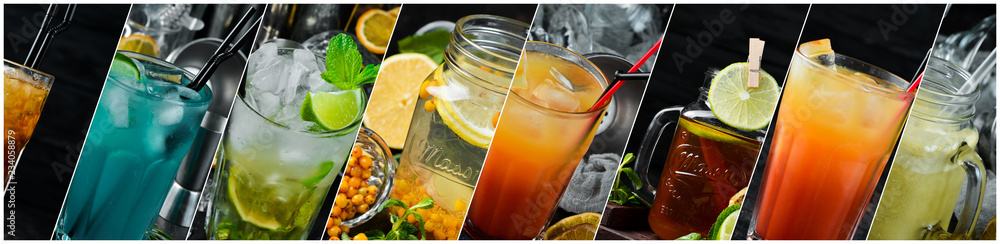 Fototapeta Collage. Colored Alcoholic Cocktails. Top view. On a wooden background.