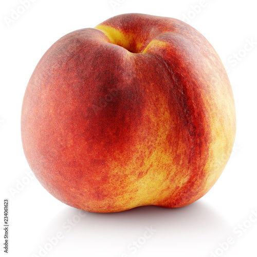Ripe whole peach fruit isolated on white background with clipping path. Full depth of field.