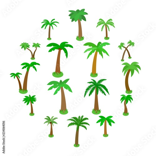 Palm tree icons set in isometric 3d style isolated on white Wall mural