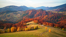 Beautiful Mountain Autumn Landscape With Meadow And Colorful Forest