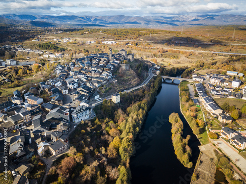 Aerial view of Puebla de Sanabria in Spain