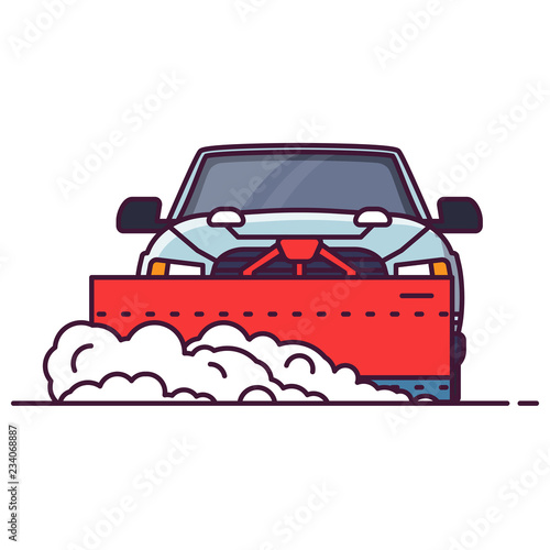Front view of SUV car with attached snowplower Wallpaper Mural