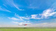 Airplane Take Off On Beautiful...